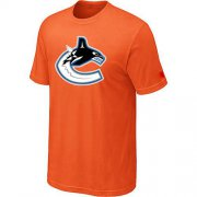 Wholesale Cheap Vancouver Canucks Big & Tall Logo Orange NHL T-Shirt