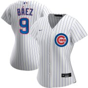 Wholesale Cheap Chicago Cubs #9 Javier Baez Nike Women's Home 2020 MLB Player Jersey White