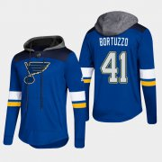 Wholesale Cheap Blues #41 Robert Bortuzzo Blue 2018 Pullover Platinum Hoodie