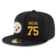 Wholesale Cheap Pittsburgh Steelers #75 Joe Greene Snapback Cap NFL Player Black with Gold Number Stitched Hat