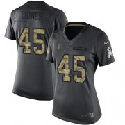 Wholesale Cheap Nike Falcons #45 Deion Jones Black Women's Stitched NFL Limited 2016 Salute to Service Jersey