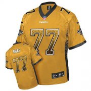 Wholesale Cheap Nike Saints #77 Willie Roaf Gold Men's Stitched NFL Elite Drift Fashion Jersey