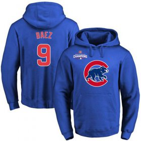 Wholesale Cheap Cubs #9 Javier Baez Blue 2016 World Series Champions Primary Logo Pullover MLB Hoodie