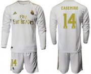 Wholesale Cheap Real Madrid #14 Casemiro White Home Long Sleeves Soccer Club Jersey