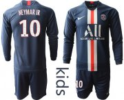 Wholesale Cheap Paris Saint-Germain #10 Neymar Jr Home Long Sleeves Kid Soccer Club Jersey