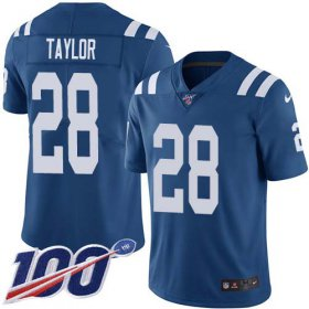 Wholesale Cheap Nike Colts #28 Jonathan Taylor Royal Blue Team Color Youth Stitched NFL 100th Season Vapor Untouchable Limited Jersey