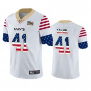Wholesale Cheap New Orleans Saints #41 Alvin Kamara White Men's Nike Team Logo USA Flag Vapor Untouchable Limited NFL Jersey