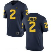 Wholesale Cheap Men's Michigan Wolverines #2 Derek Jeter Navy Blue Stitched College Football Brand Jordan NCAA Jersey