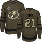 Cheap Adidas Lightning #21 Brayden Point Green Salute to Service Youth 2020 Stanley Cup Champions Stitched NHL Jersey