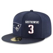 Wholesale Cheap New England Patriots #3 Stephen Gostkowski Snapback Cap NFL Player Navy Blue with White Number Stitched Hat
