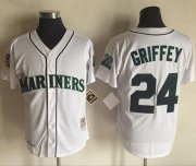 Wholesale Cheap Mitchell And Ness 1997 Mariners #24 Ken Griffey White Throwback Stitched MLB Jersey