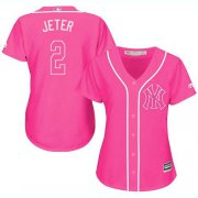 Wholesale Cheap Yankees #2 Derek Jeter Pink Fashion Women's Stitched MLB Jersey