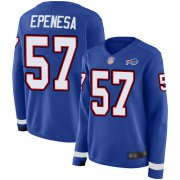 Wholesale Cheap Nike Bills #57 A.J. Epenesas Royal Blue Team Color Women's Stitched NFL Limited Therma Long Sleeve Jersey