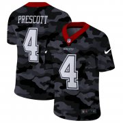 Cheap Dallas Cowboys #4 Dak Prescott Men's Nike 2020 Black CAMO Vapor Untouchable Limited Stitched NFL Jersey