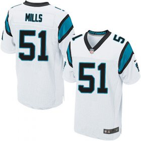 Wholesale Cheap Nike Panthers #51 Sam Mills White Men\'s Stitched NFL Elite Jersey
