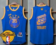 Wholesale Cheap Men's Warriors #35 Kevin Durant Blue Throwback The City 2017 The Finals Patch Stitched NBA Jersey