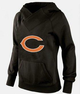 Wholesale Cheap Women\'s Chicago Bears Logo Pullover Hoodie Black-2