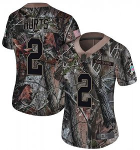 Wholesale Cheap Nike Eagles #2 Jalen Hurts Camo Women\'s Stitched NFL Limited Rush Realtree Jersey