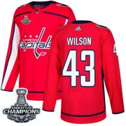 Wholesale Cheap Adidas Capitals #43 Tom Wilson Red Home Authentic Stanley Cup Final Champions Stitched NHL Jersey