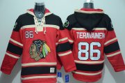 Wholesale Cheap Blackhawks #86 Teuvo Teravainen Red Sawyer Hooded Sweatshirt Stitched NHL Jersey