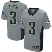 Wholesale Cheap Nike Seahawks #3 Russell Wilson Grey Shadow Youth Stitched NFL Elite Jersey