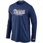 Wholesale Cheap Nike New England Patriots Authentic Font Long Sleeve T-Shirt Dark Blue