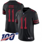 Wholesale Cheap Nike 49ers #11 Brandon Aiyuk Black Alternate Youth Stitched NFL 100th Season Vapor Untouchable Limited Jersey