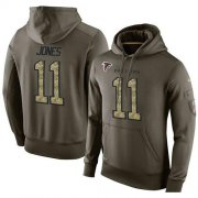 Wholesale Cheap NFL Men's Nike Atlanta Falcons #11 Julio Jones Stitched Green Olive Salute To Service KO Performance Hoodie