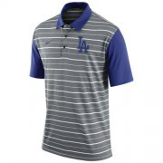 Wholesale Cheap Men's Los Angeles Dodgers Nike Gray Dri-FIT Stripe Polo