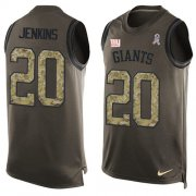 Wholesale Cheap Nike Giants #20 Janoris Jenkins Green Men's Stitched NFL Limited Salute To Service Tank Top Jersey