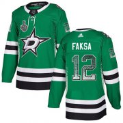 Wholesale Cheap Adidas Stars #12 Radek Faksa Green Home Authentic Drift Fashion 2020 Stanley Cup Final Stitched NHL Jersey