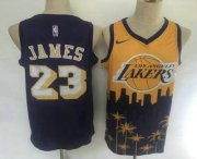 Wholesale Cheap Men's Los Angeles Lakers #23 LeBron James Purple with Yellow Salute Nike Swingman Stitched NBA Jersey