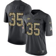 Wholesale Cheap Nike Buccaneers #35 Jamel Dean Black Men's Stitched NFL Limited 2016 Salute to Service Jersey