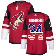 Wholesale Cheap Adidas Coyotes #34 Carl Soderberg Maroon Home Authentic USA Flag Stitched NHL Jersey