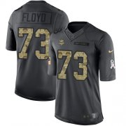 Wholesale Cheap Nike Vikings #73 Sharrif Floyd Black Men's Stitched NFL Limited 2016 Salute To Service Jersey