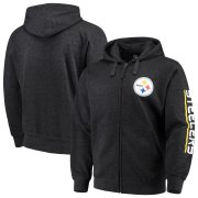 Wholesale Cheap Pittsburgh Steelers G-III Sports by Carl Banks Post Route Full-Zip Hoodie Charcoal