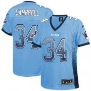 Wholesale Cheap Nike Titans #34 Earl Campbell Light Blue Alternate Women's Stitched NFL Elite Drift Fashion Jersey