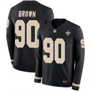 Wholesale Cheap Nike Saints #90 Malcom Brown Black Team Color Youth Stitched NFL Limited Therma Long Sleeve Jersey