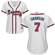 Wholesale Cheap Braves #7 Dansby Swanson White Home Women's Stitched MLB Jersey