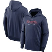 Wholesale Cheap Atlanta Braves Nike Outline Wordmark Fleece Performance Pullover Hoodie Navy
