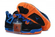 Wholesale Cheap Air Jordan 4 Womens cavs Shoes blue/black-orange
