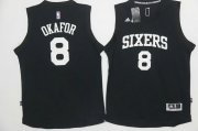 Wholesale Cheap Men's Philadelphia 76ers #8 Jahlil Okafor Black With White Stitched NBA Adidas Revolution 30 Swingman Jersey