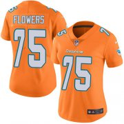 Wholesale Cheap Nike Dolphins #75 Ereck Flowers Orange Women's Stitched NFL Limited Rush Jersey