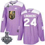Wholesale Cheap Adidas Golden Knights #24 Oscar Lindberg Purple Authentic Fights Cancer 2018 Stanley Cup Final Stitched Youth NHL Jersey