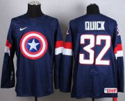 Wholesale Cheap Olympic Team USA #32 Jonathan Quick Navy Blue Captain America Fashion Stitched NHL Jersey