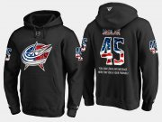 Wholesale Cheap Blue Jackets #45 Lukas Sedlak NHL Banner Wave Usa Flag Black Hoodie