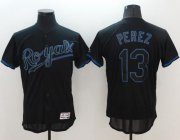 Wholesale Cheap Royals #13 Salvador Perez Black Fashion Flexbase Authentic Collection Stitched MLB Jersey