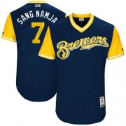 "Wholesale Cheap Brewers #7 Eric Thames Navy ""Sang Namja"" Players Weekend Authentic Stitched MLB Jersey"