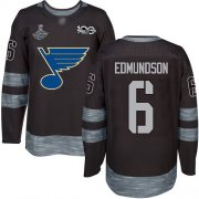 Wholesale Cheap Adidas Blues #6 Joel Edmundson Black 1917-2017 100th Anniversary Stanley Cup Champions Stitched NHL Jersey