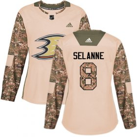 Wholesale Cheap Adidas Ducks #8 Teemu Selanne Camo Authentic 2017 Veterans Day Women\'s Stitched NHL Jersey